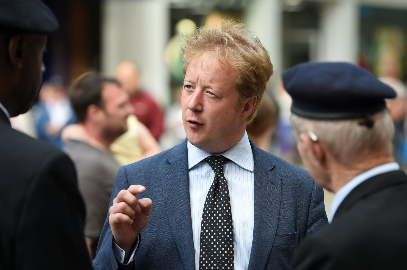 Conservative party candidate Paul Bristow talks to veterans during a D-Day 75th anniversary event in Peterborough o June 6, 2019. (Reuters Photo)