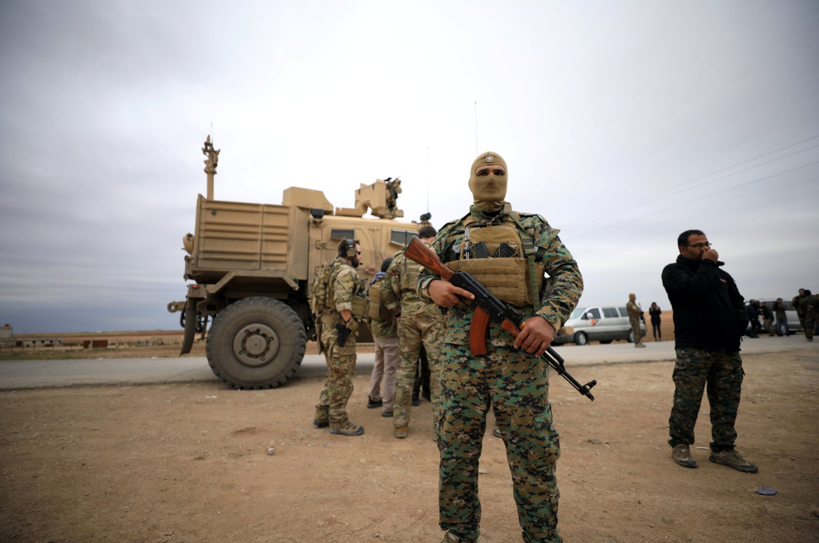 YPG/PKK terrorists and U.S. troops are seen during a patrol near the Turkish border in Al-Hasakah, Syria, Nov. 4, 2018. (Reuters Photo)