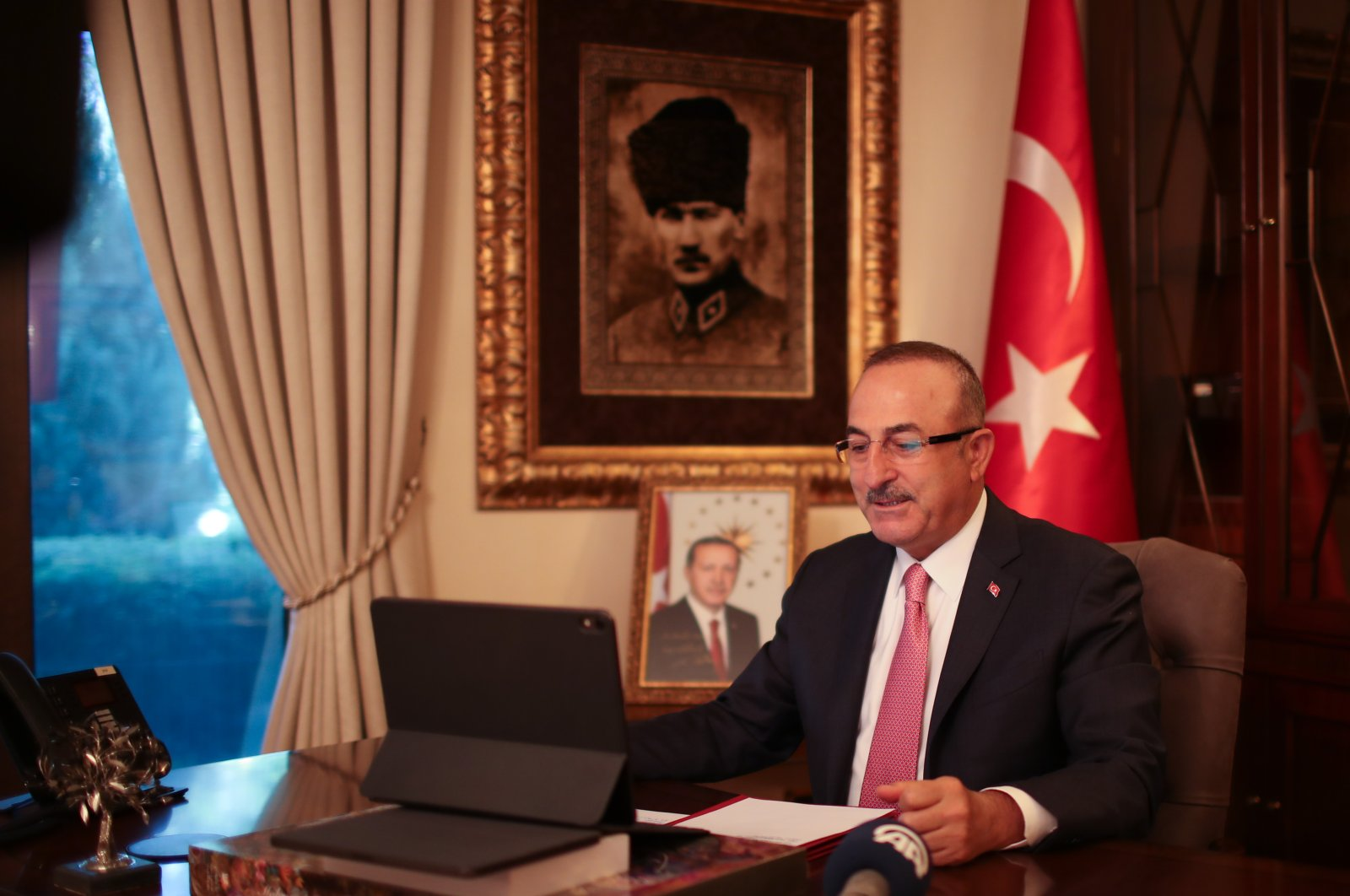 Foreign Minister Mevlüt Çavuşoğlu holds a videoconference on the occasion of Children's Day and the centenary of the Turkish Parliament, Ankara, Turkey, April 23, 2020. (AA Photo)