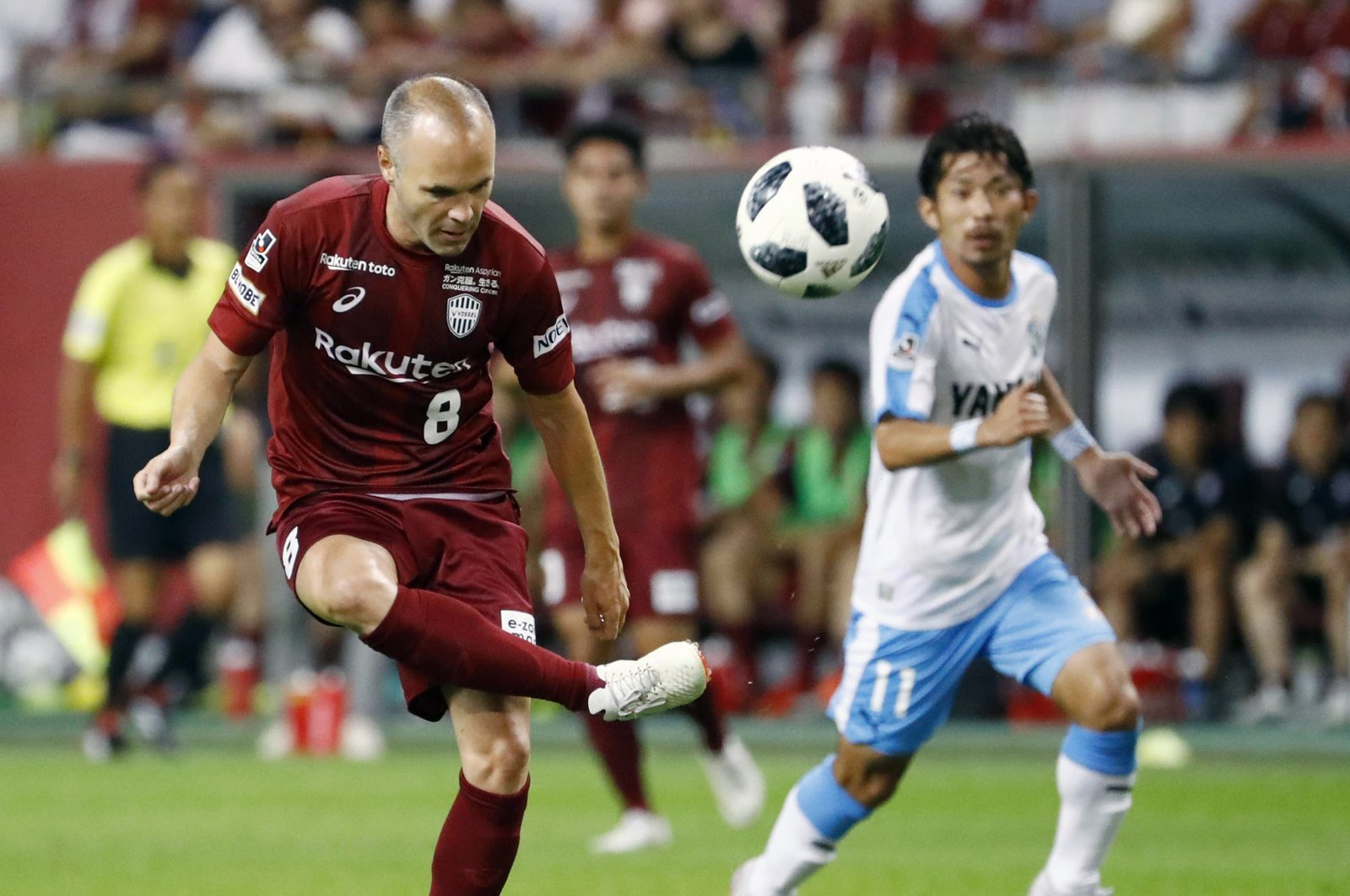 Andres Iniesta controls the ball during a match against Jubil Iwata, in Kobe, Japan, Saturday, August 11, 2018. (AP Photo)