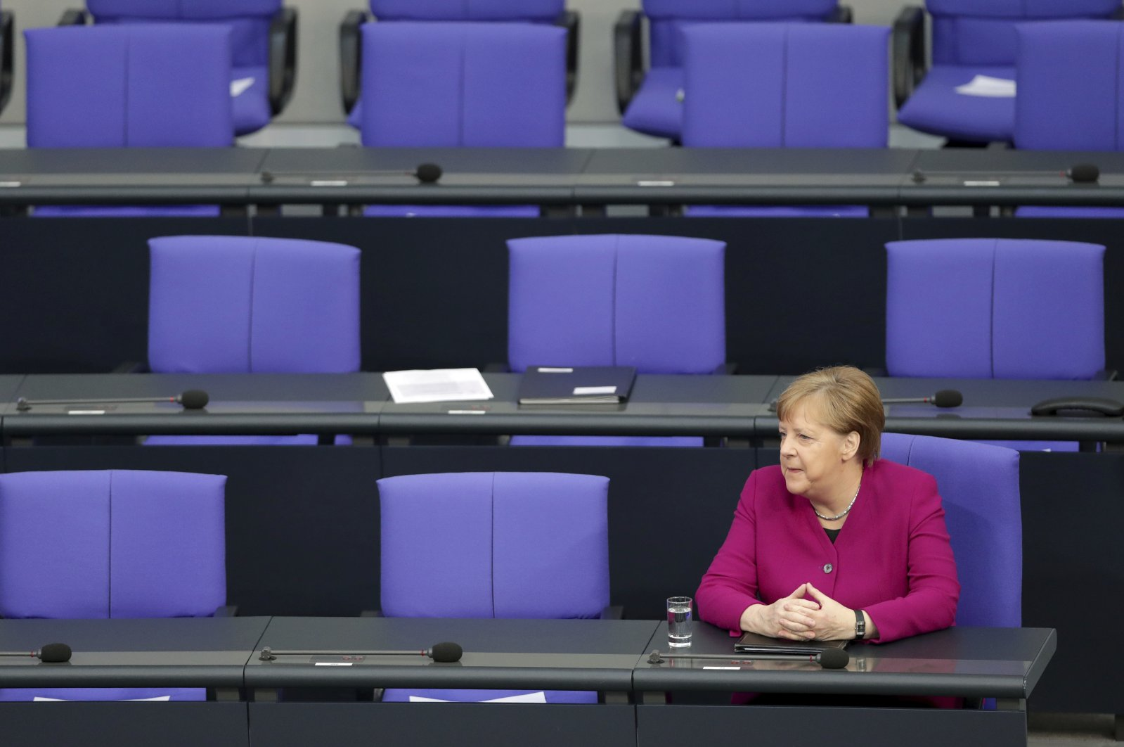 German Chancellor Angela Merkel attends a meeting of the German federal parliament, Bundestag, Berlin, Thursday, April 23, 2020. (AP Photo)
