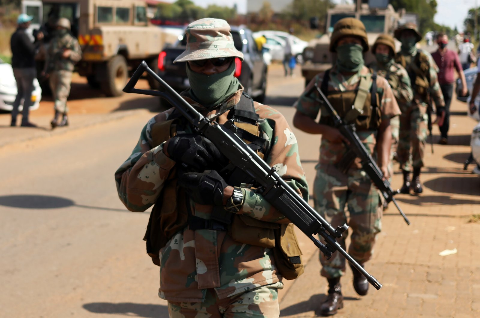 Members of the military patrol during a nationwide lockdown aimed at limiting the spread of the coronavirus, in Soweto, South Africa, April 23, 2020. (Reuters Photo)