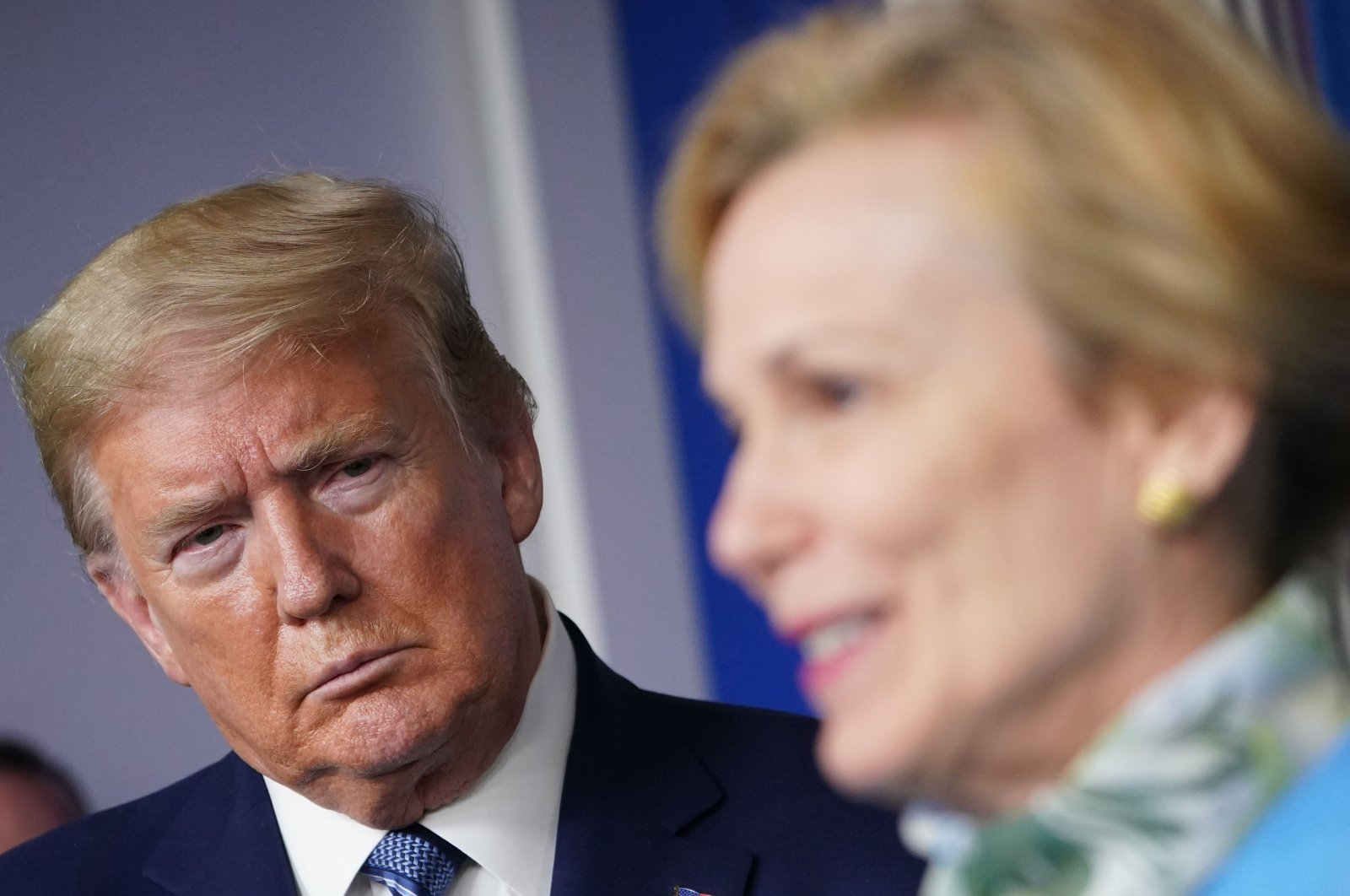 Response coordinator for White House Coronavirus Task Force Deborah Birx speaks as U.S. President Donald Trump listens during the daily briefing on the novel coronavirus in the Brady Briefing Room of the White House in Washington, D.C., U.S., April 21, 2020. (AFP Photo)