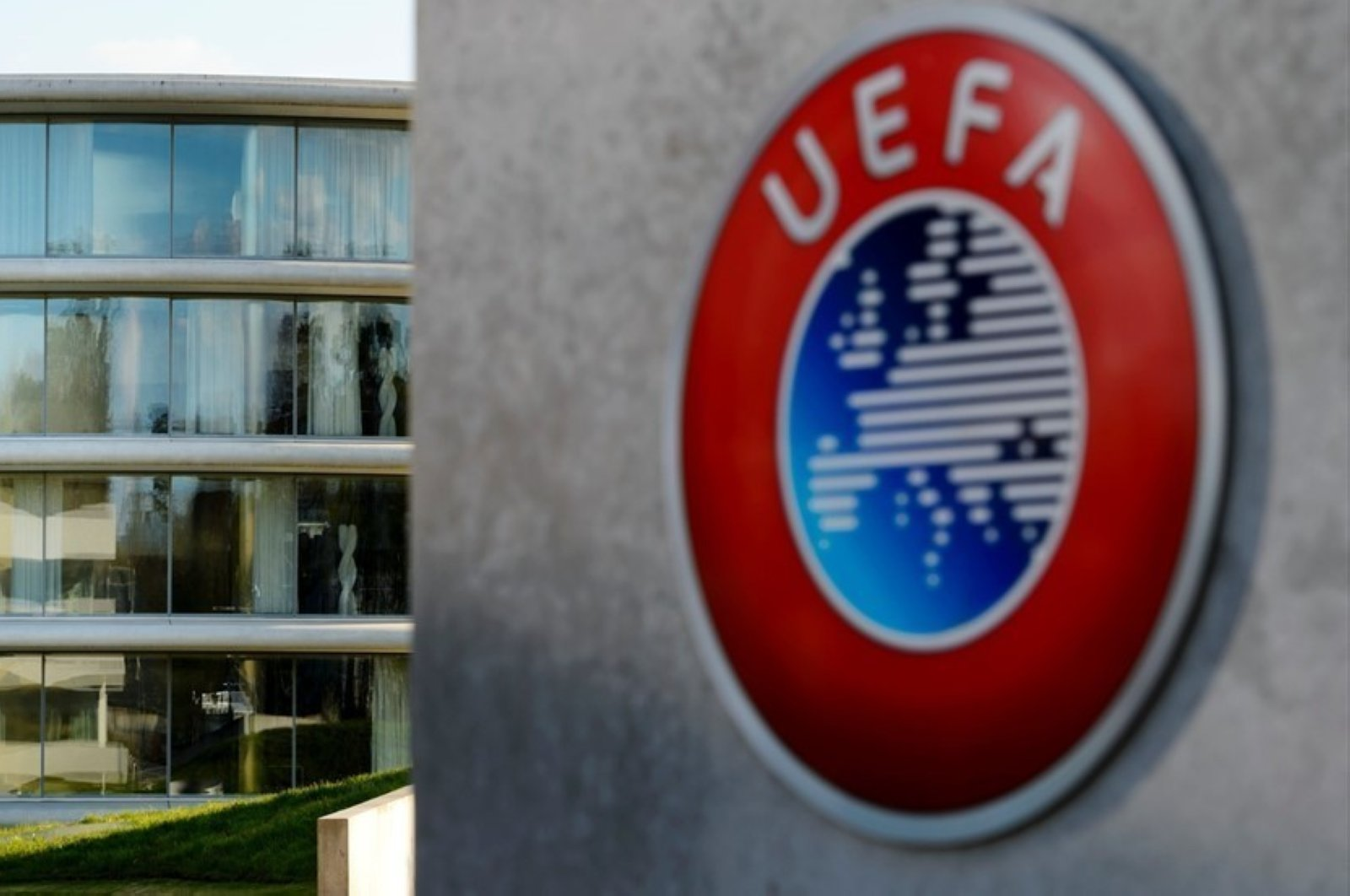 The UEFA logo at the soccer body's headquarters in Nyon, Switzerland. (AA Photo)