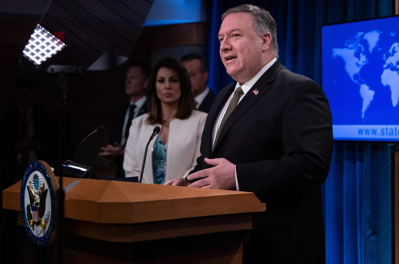 U.S. Secretary of State Mike Pompeo speaks at a press briefing at the State Department in Washington, DC, on April 22, 2020. (AFP Photo)