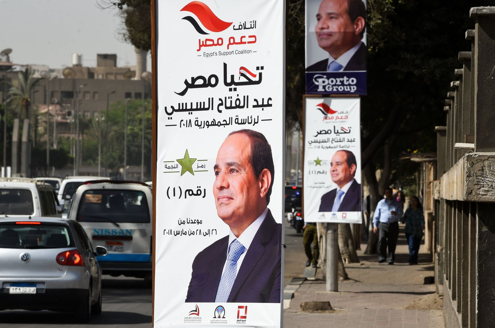 A picture taken on March 26, 2018 shows electoral banners for incumbent Egyptian President Abdel Fattah al-Sisi hanging along a street in the capital Cairo. (AFP Photo)