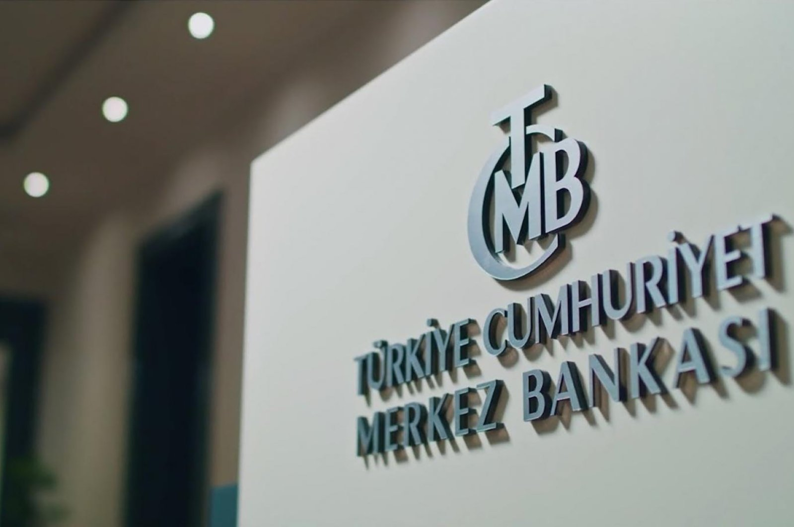 The logo of the Central Bank of the Republic of Turkey (CBRT) inside its headquarters.