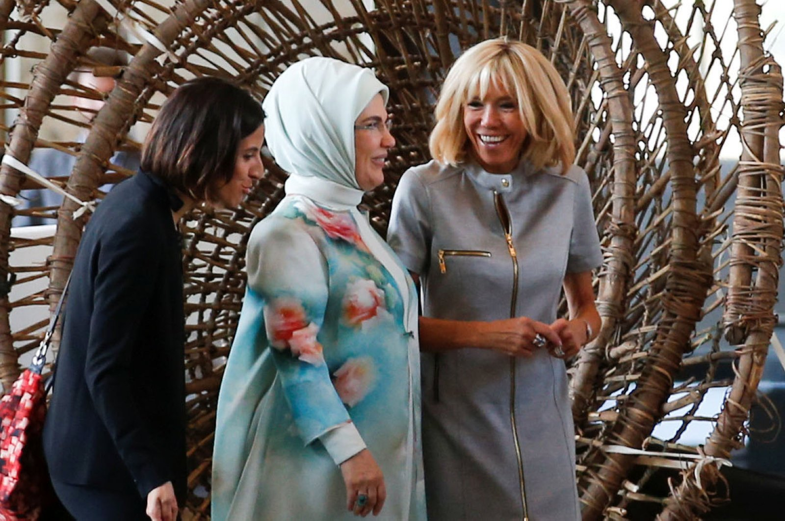 Turkey's first lady Emine Erdogan and France's first lady Brigitte Macron visit the Royal Museum for Central Africa, during the NATO leaders summit, in Brussels, Belgium July 12, 2018. (Reuters Photo)