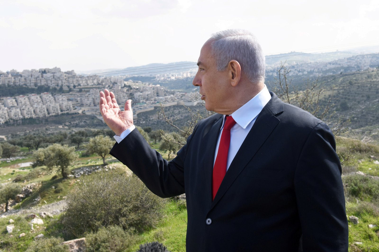 Israeli Prime Minister Benjamin Netanyahu delivers a statement overlooking the Israeli settlement of Har Homa, occupied West Bank, Palestine, Feb. 20, 2020. (Reuters Photo)