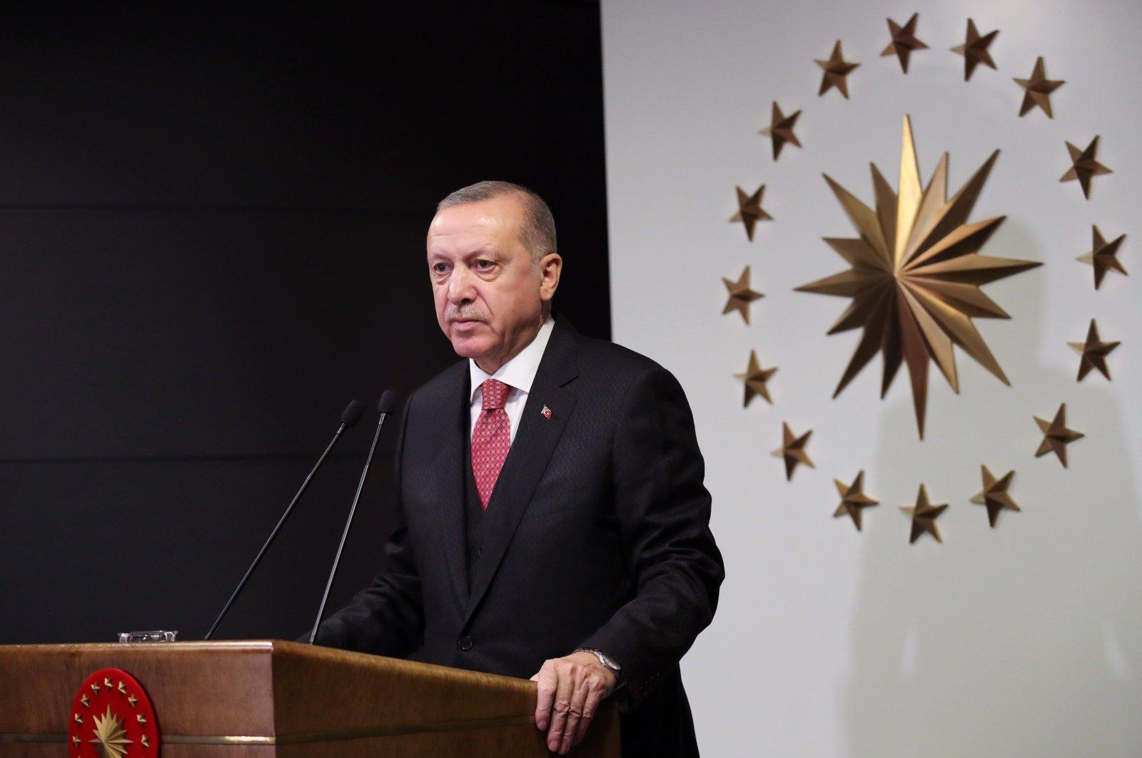 President Recep Tayyip Erdoğan speaks after a Cabinet meeting, Ankara, Turkey, April 22, 2020. (AA Photo)