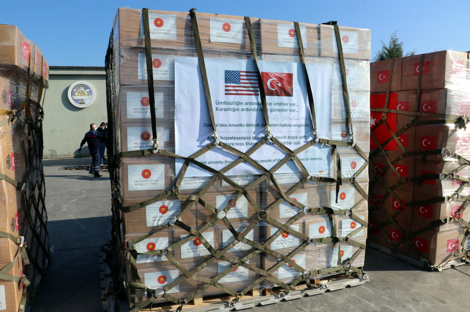 Packages of personal protection equipment donated by Turkey to help the United States combat the new coronavirus outbreak sit at Etimesgut Air Base outside Ankara, Turkey, April 28, 2020. (DHA Photo)