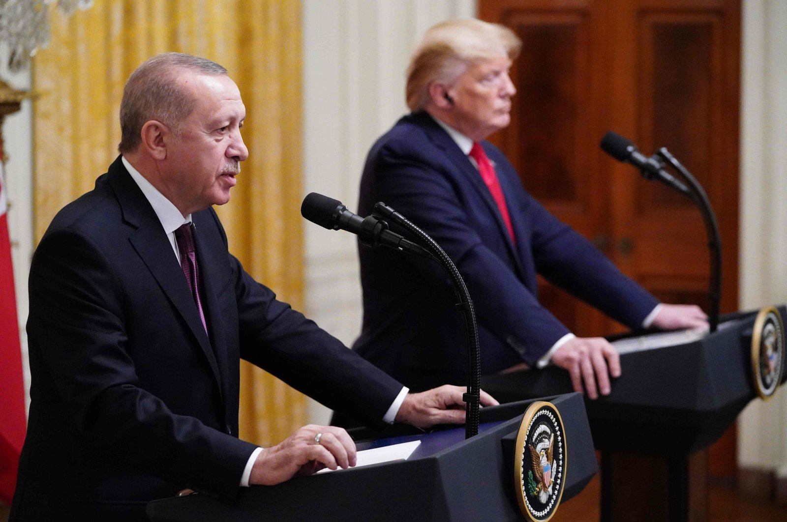President Recep Tayyip Erdogan and Donald Trump take part in a joint news conference in the East Room of the White House in Washington, D.C., Nov. 13, 2019. (AFP Photo)