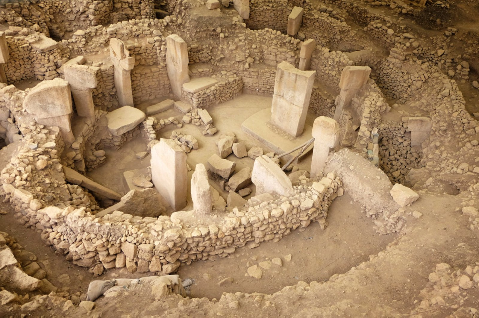 An aerial view of the ancient site of Göbeklitepe, Şanlıurfa province, Turkey. (DHA Photo)
