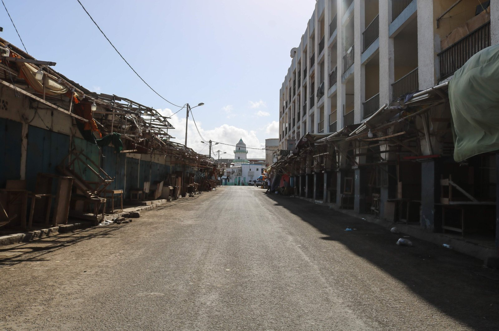 All shops are closed at a clothes market as the government banned commercial activities at essential markets to curb the spread of the coronavirus in Djibouti, March 27, 2020. (AFP Photo)
