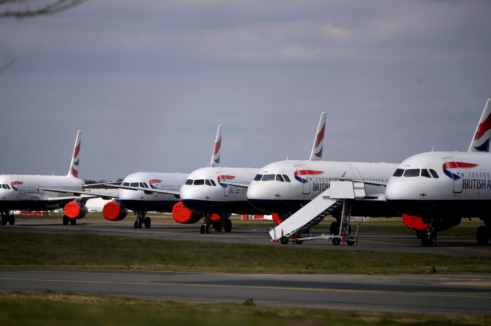 British Airways planes are seen parked at Bournemouth Airport, as the spread of the coronavirus disease continues, Bournemouth, Britain, April 1, 2020. (Reuters Photo)