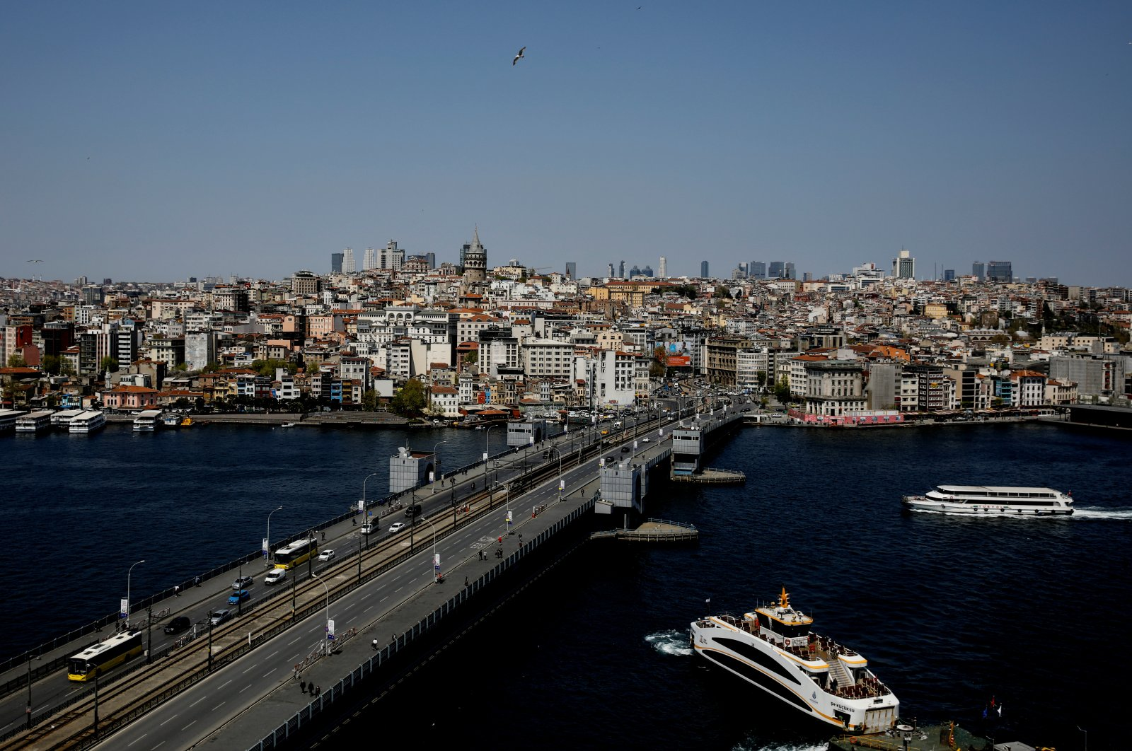 The Galata Bridge and historical Galata Tower are pictured during the outbreak of COVID-19 in Istanbul, Turkey, April 27, 2020. (Reuters Photo)