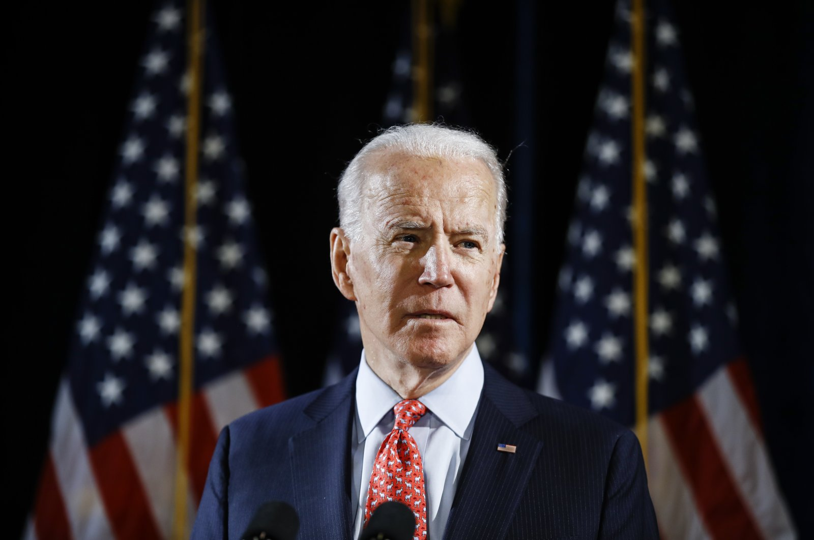 Democratic presidential candidate and former Vice President Joe Biden speaks about the coronavirus in Wilmington, Delaware, U.S., March 12, 2020. (AP Photo)