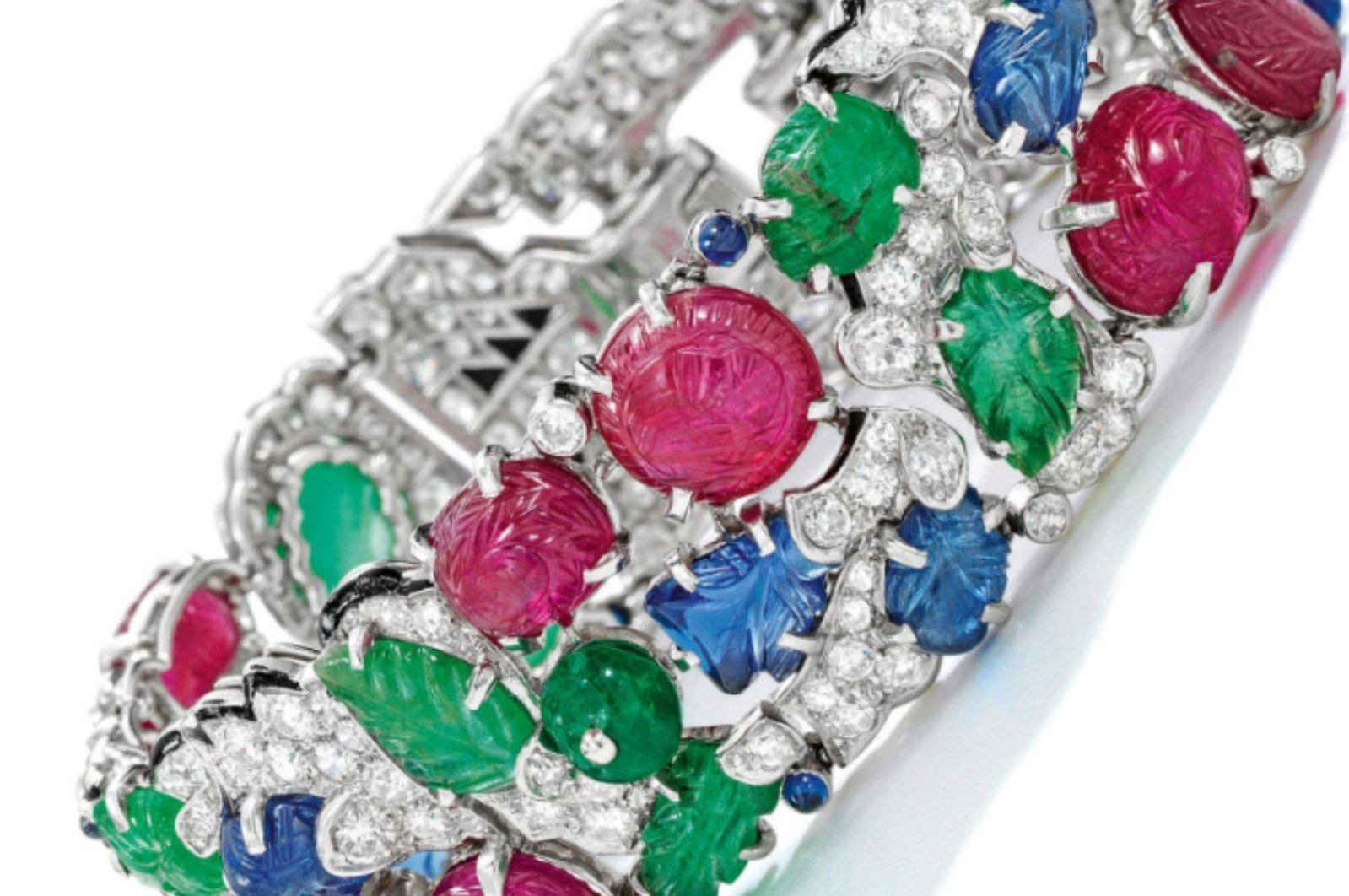 """Cartier's """"Tutti-Frutti"""" bracelet seen in this undated photo. (Photo from Sotheby's official Instagram account)"""