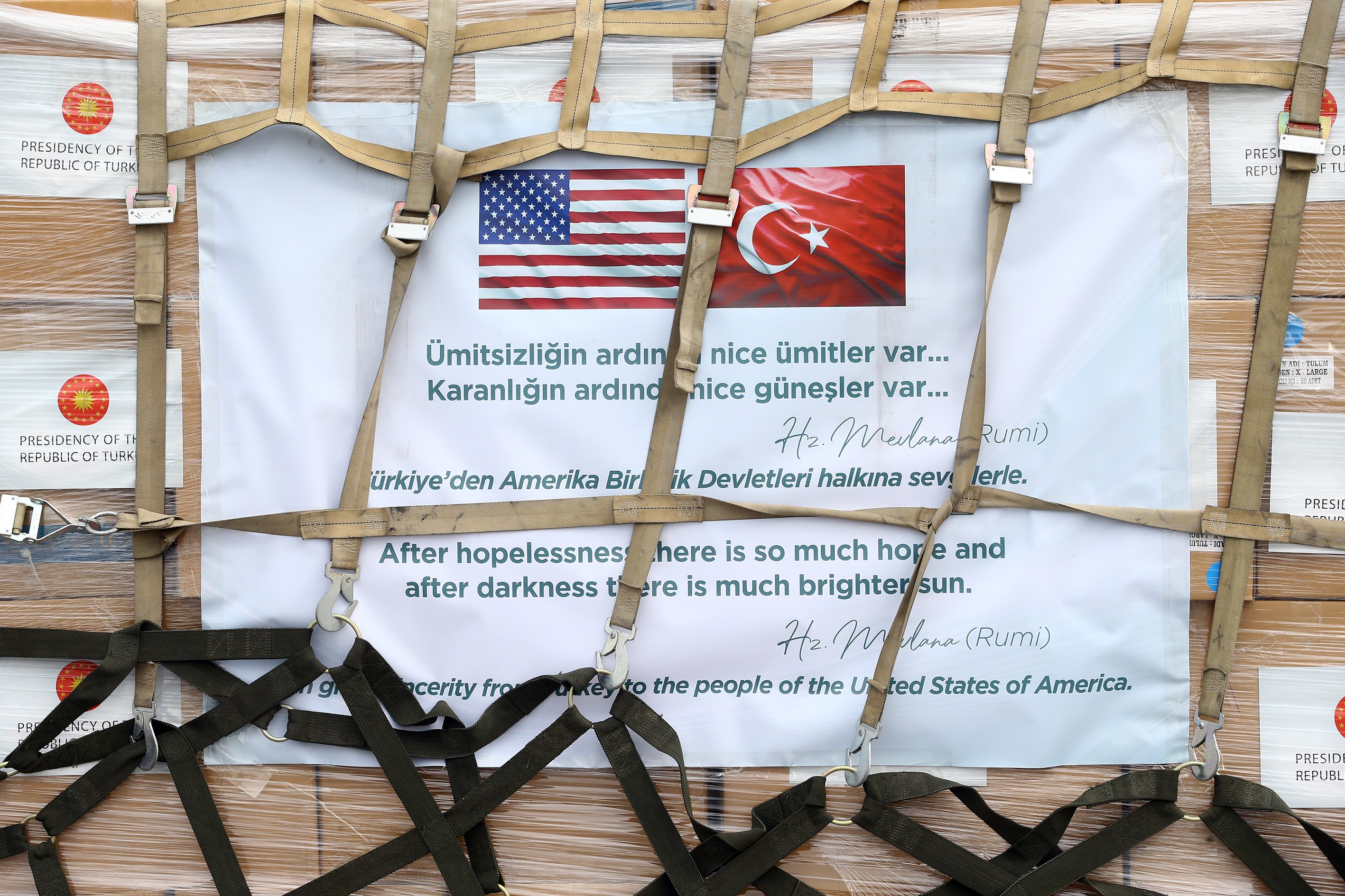 A second Turkish military plane took off from an air base near Ankara on Thursday carrying more medical aid to the U.S. which has been hit hard by the pandemic, April 30, 2020. (AA)