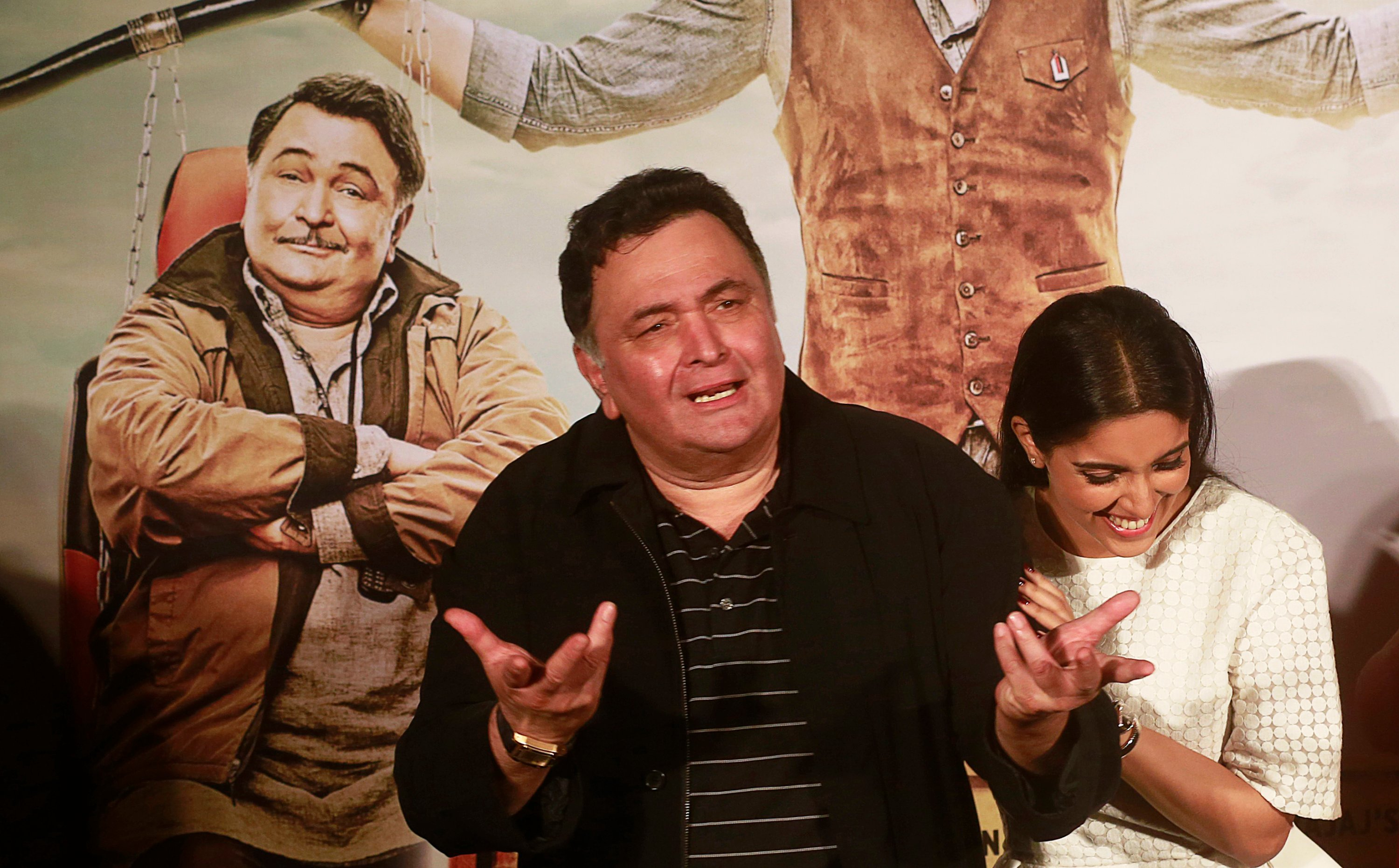 In a July 1, 2015, file photo, Bollywood actor Rishi Kapoor speaks during the trailer launch of his upcoming movie 'All is Well' in Mumbai, India. (AP Photo)