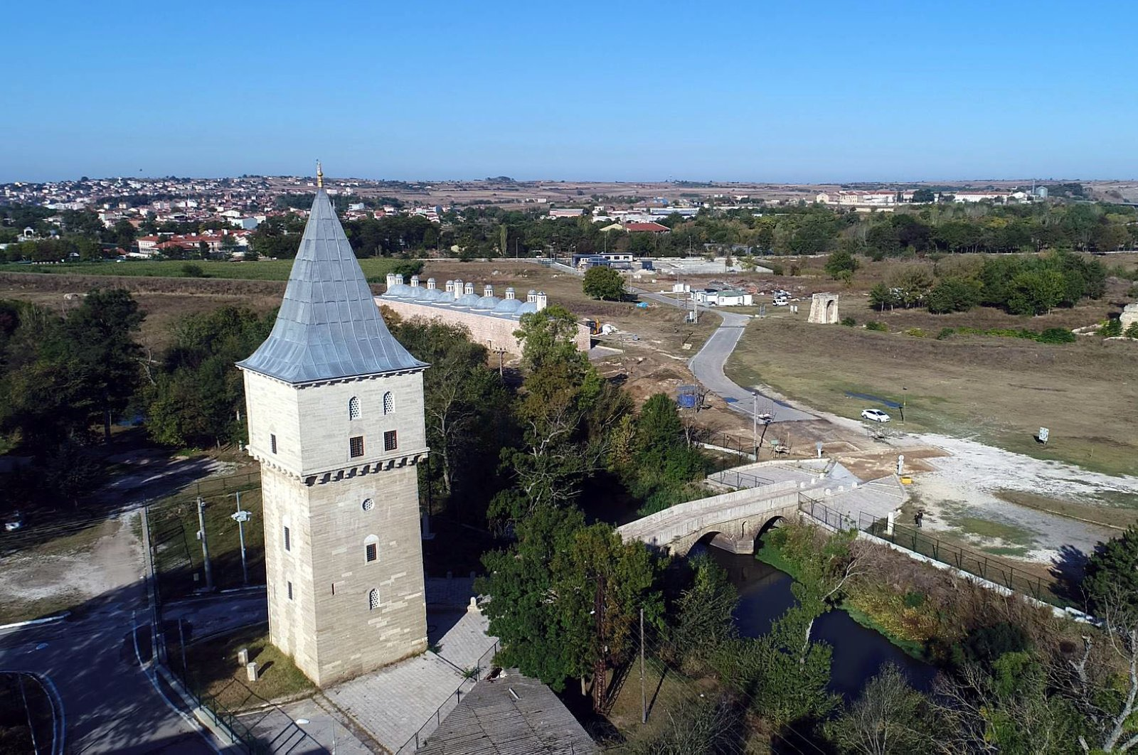 Fatih Bridge and Justice Pavilion of the Edirne Palace. (AA Photo)