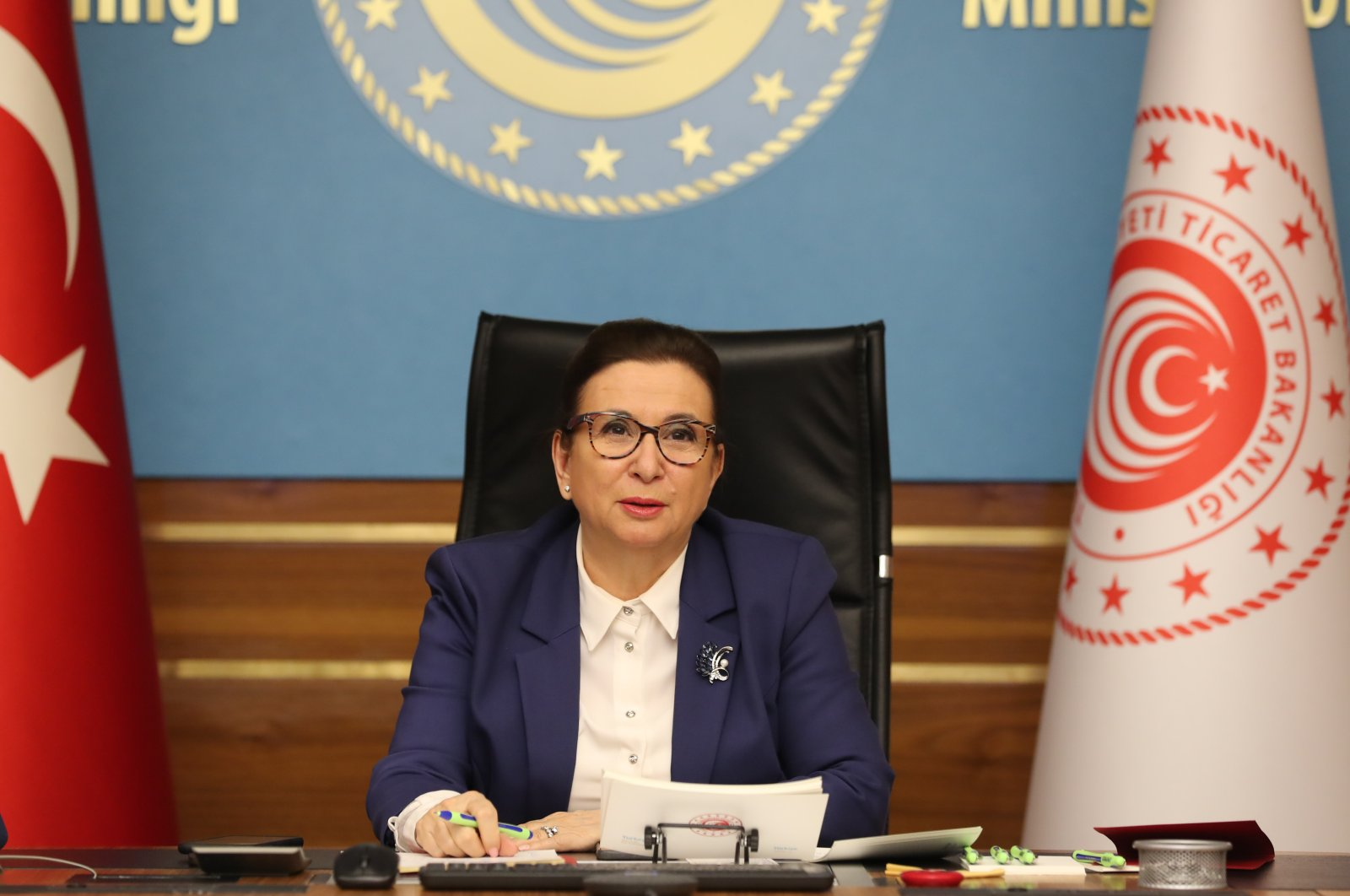 Trade Minister Ruhsar Pekcan speaks during the virtual meeting held with the Union of Chambers and Commodity Exchanges of Turkey, Friday, May 1, 2020. (AA Photo)