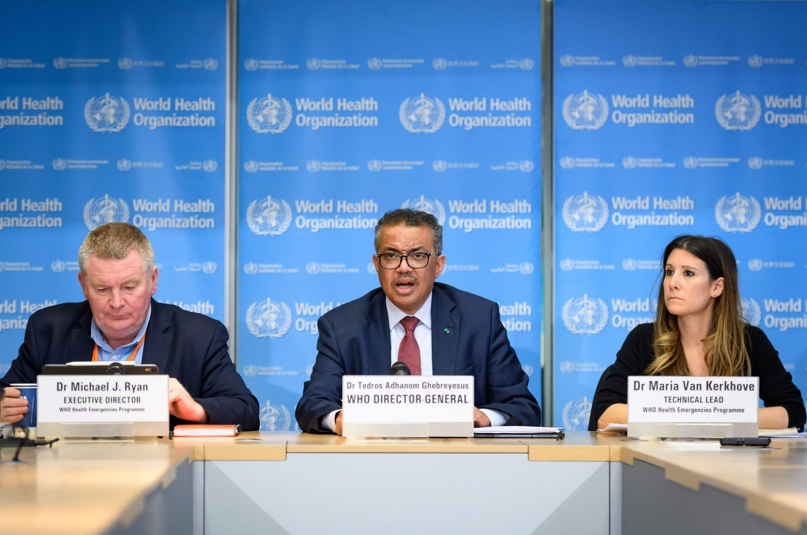 (From L) World Health Organization (WHO) Health Emergencies Program Director Michael Ryan, WHO Director-General Tedros Adhanom Ghebreyesus and WHO Technical Lead Maria Van Kerkhove attend a daily press briefing on COVID-19 at the WHO headquaters in Geneva on March 6, 2020. (AFP Photo)