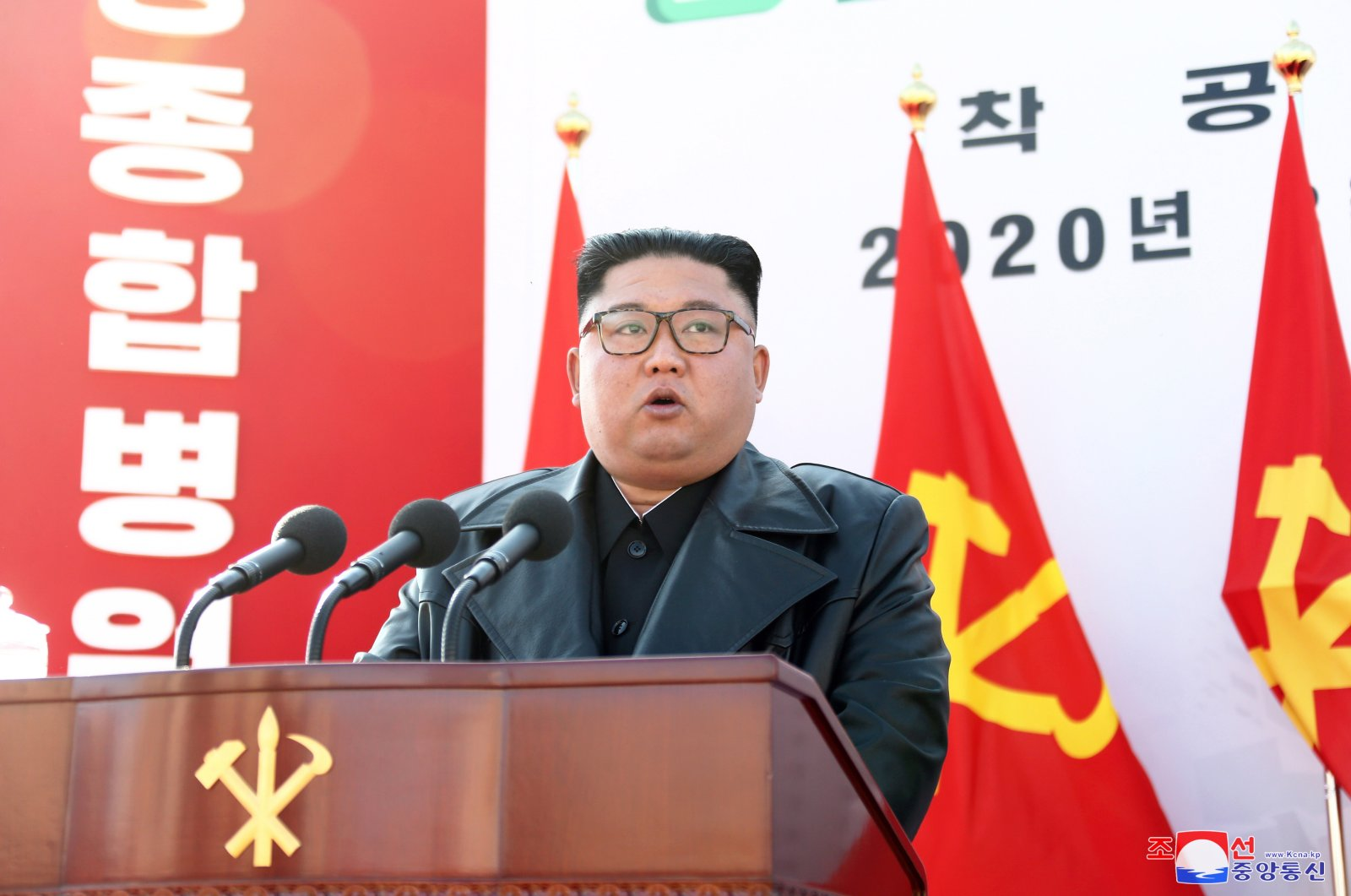 A photo released by the official North Korean Central News Agency (KCNA) shows shows North Korean leader Kim Jong-un delivering a speech on the occasion of the 75th founding anniversary, at the ground-breaking ceremony of for the construction of the Pyongynag Hospital, 17 March 2020 (issued 01 May 2020). (EPA Photo)