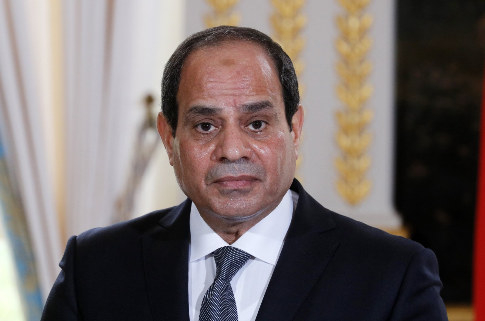 Abdel Fattah el-Sissi attends a news conference with French President Emmanuel Macron (not pictured) at the Elysee Palace, in Paris, France, 24 October 2017. (EPA Photo)