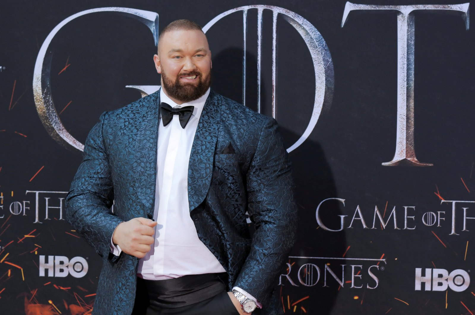 """Hafthor Julius Bjornsson arrives for the premiere of the final season of """"Game of Thrones"""" at Radio City Music Hall in New York, U.S., April 3, 2019. (Reuters Photo)"""