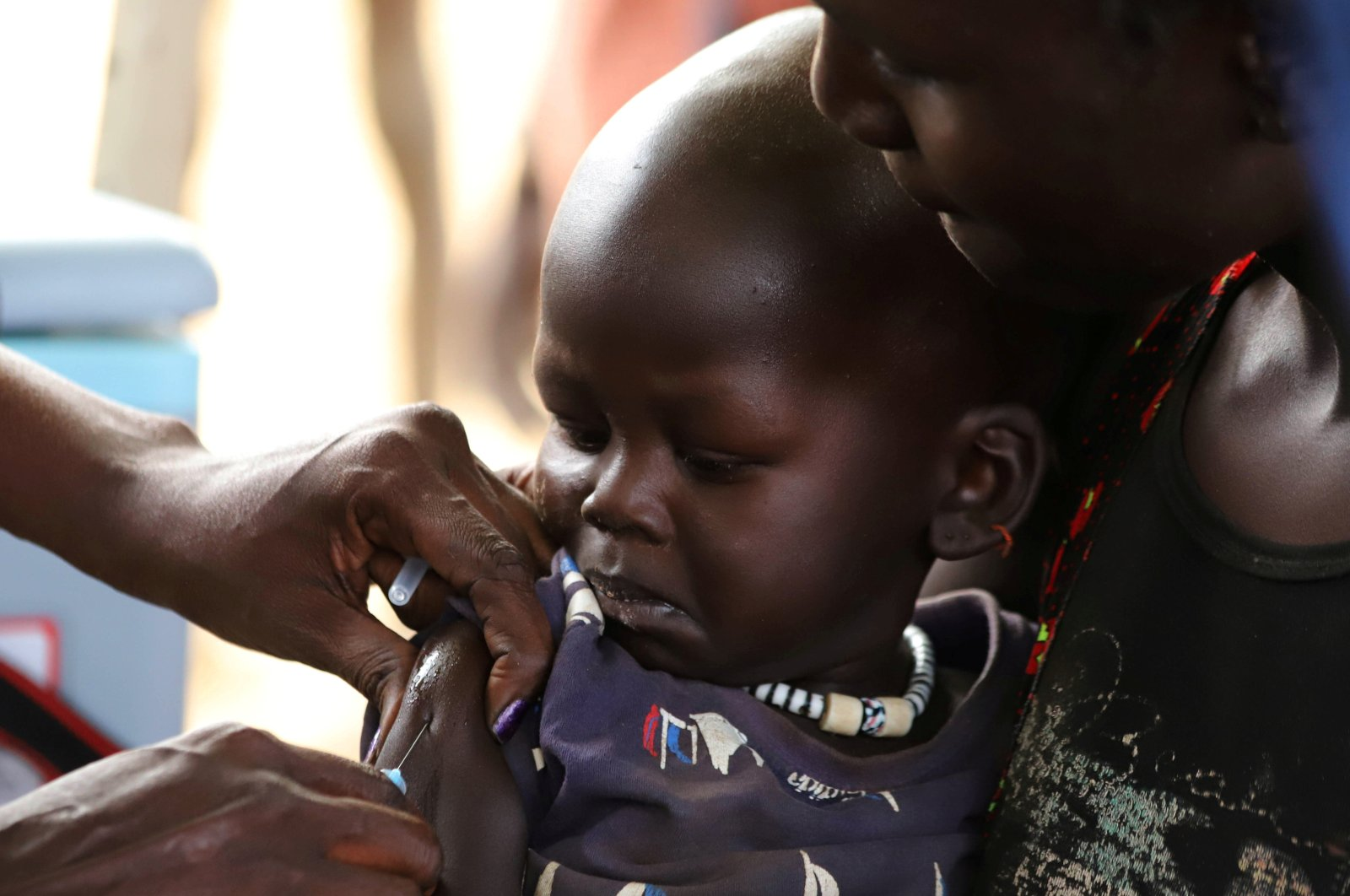 A South Sudanese child receives a vaccination against measles during a campaign in Juba, South Sudan, Feb. 4, 2020. (Reuters Photo)