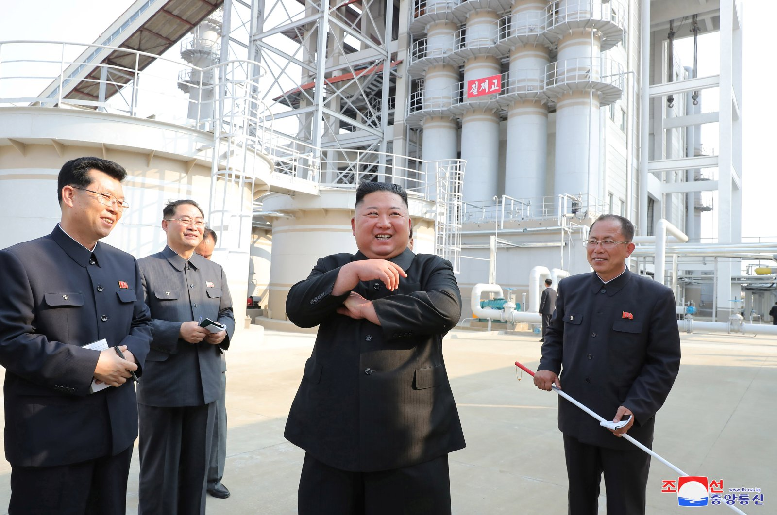 North Korean leader Kim Jong Un attends the completion of a fertilizer plant in a region north of the capital, Pyongyang, in this image released by North Korea's Korean Central News Agency (KCNA) on May 2, 2020.