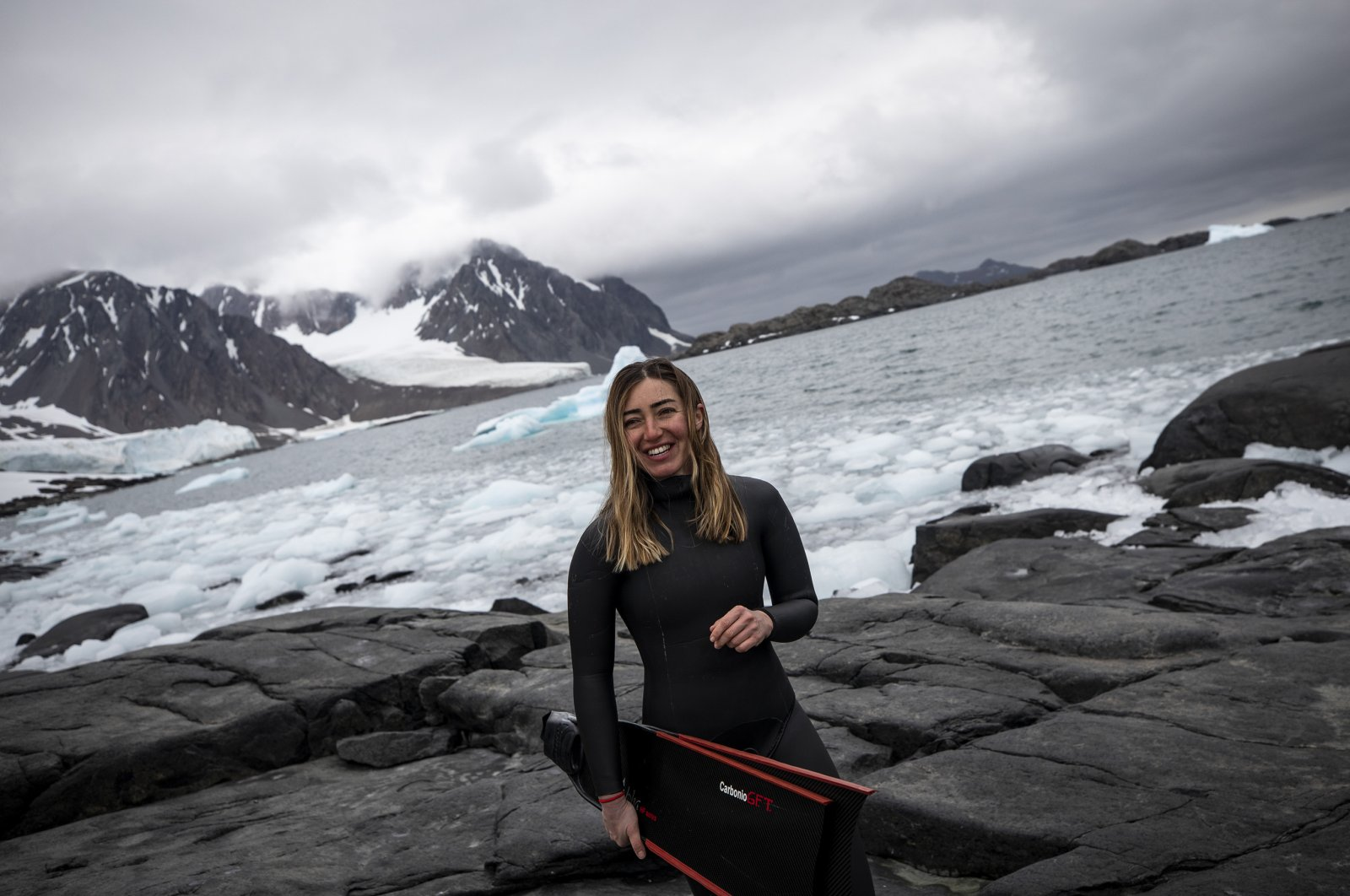 Freestyle diver ŞahikaErcümen became the first Turkish woman to dive without air tanks in Antarctica, Horseshoe Island, Antarctica, Feb. 5, 2019. (AA Photo)