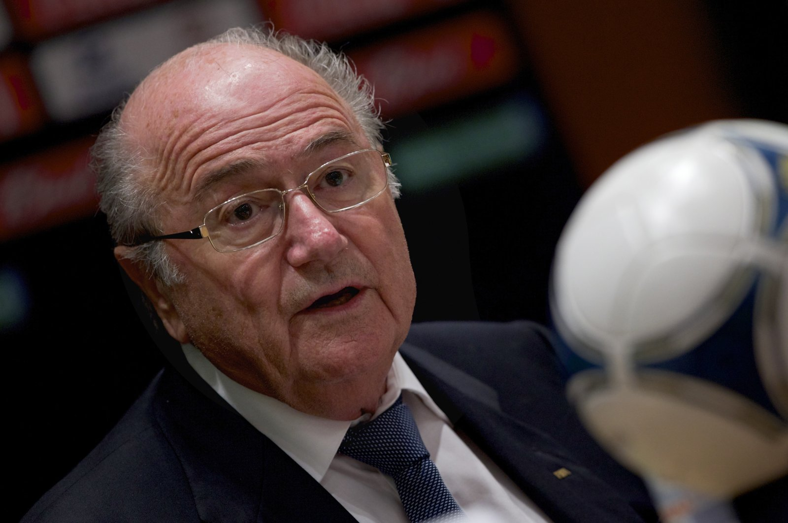Former FIFA president Sepp Blatter speaks during a conference in Moscow, Russia, Sept. 30, 2012. (AP Photo)