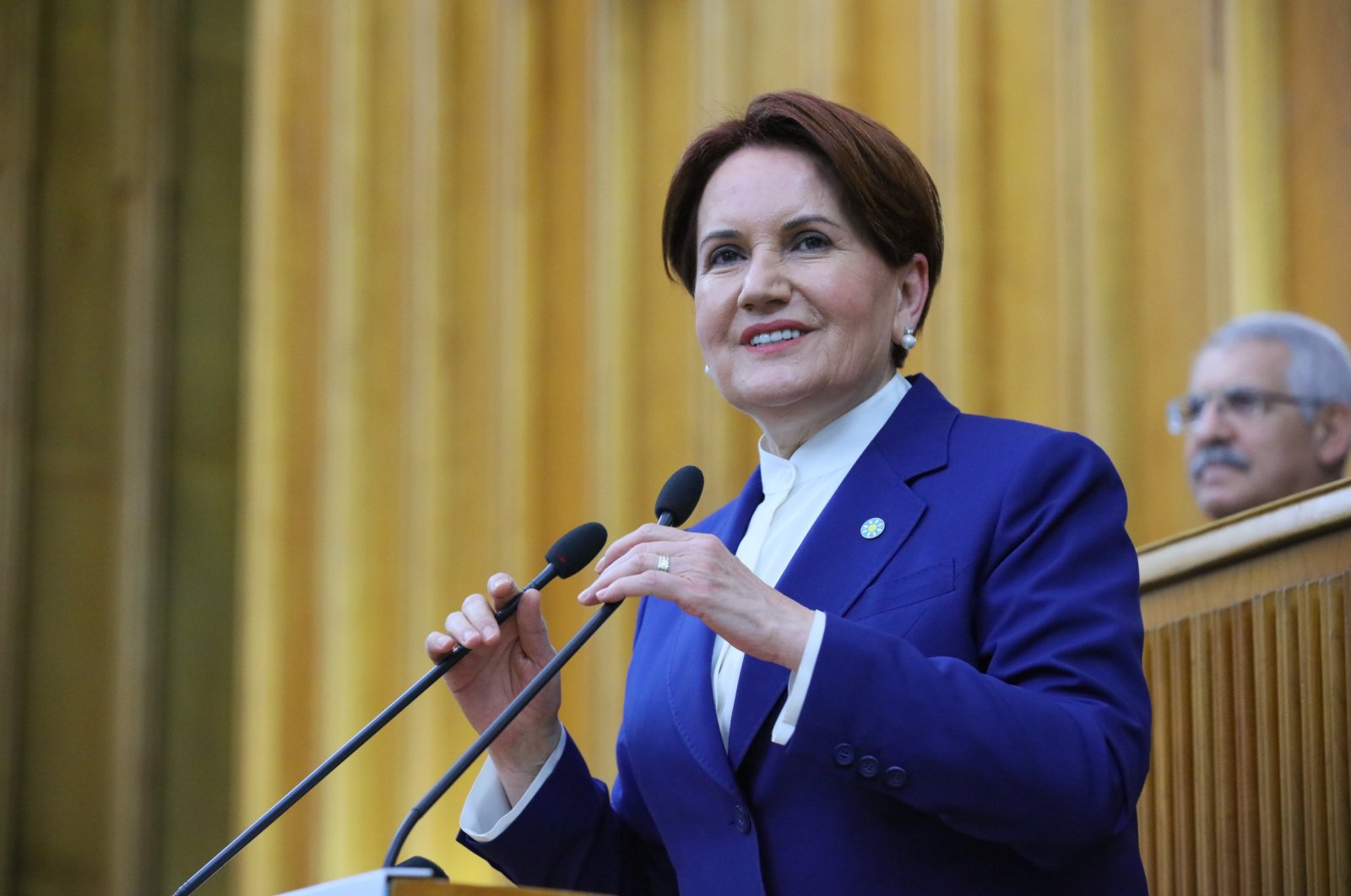 Head of İP Meral Akşener speaks at her party's group meeting in the parliament, March 10, 2020. (PHOTO BY ALİ EKEYILMAZ)