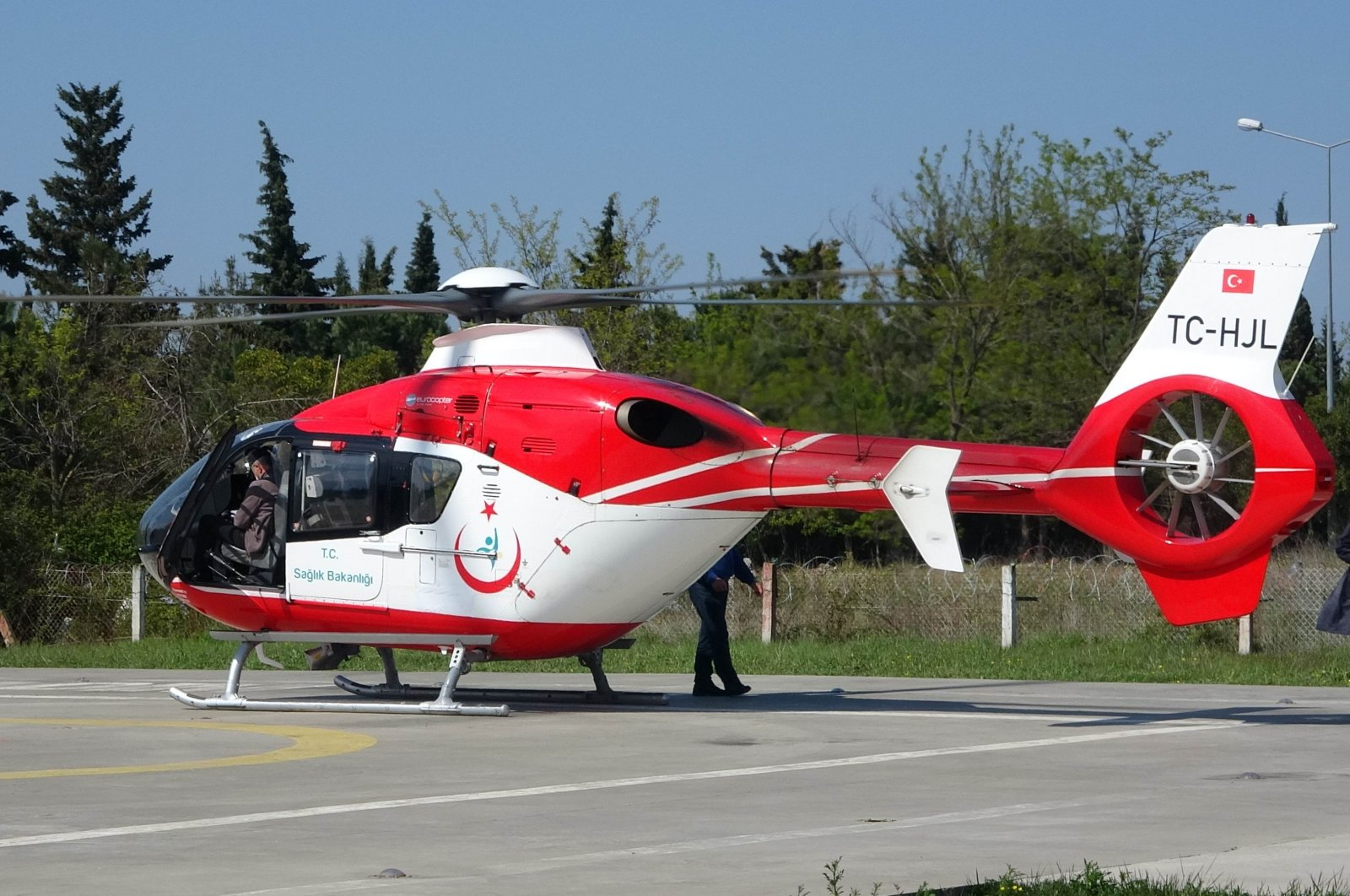 The helicopter had to turn back after the farmer refused to let it land, Samsun, Turkey, May 2, 2020. (İHA Photo)