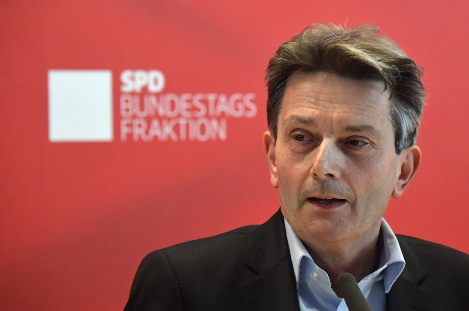 Rolf Muetzenich, parliamentary group leader of Germany's Social Democratic Party (SPD), addresses the media before a parliamentary group meeting in Berlin, Germany, Nov. 5, 2019. (AFP Photo)