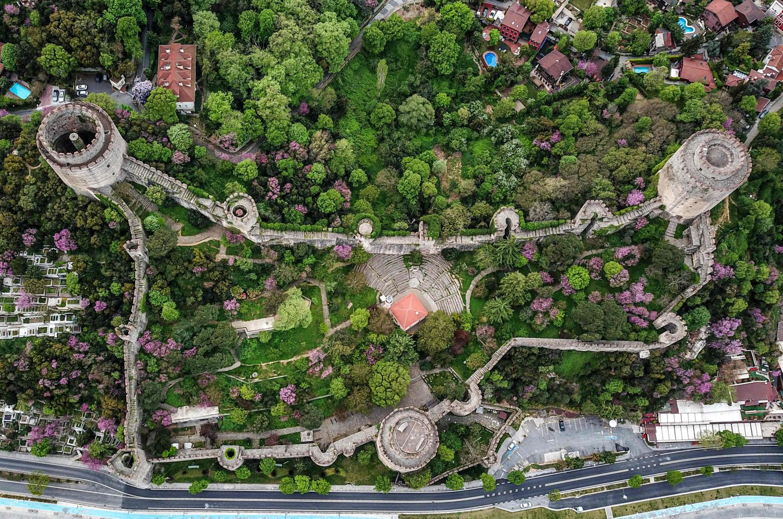 An aerial view shows the Rumelihisarı castle along the Bosporus, in Istanbul, Turkey, during a three-day curfew to prevent the spread of COVID-19, May 3, 2020. (AFP Photo)