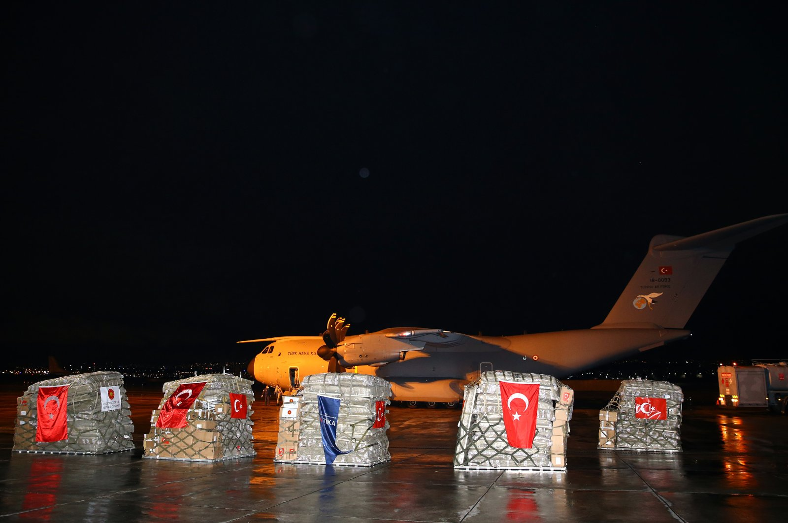 A400M-type military cargo plane carrying medical aid supplies pictured at the Etimesgut Military Airport in Ankara on Monday, May 4, 2020 (AA Photo)