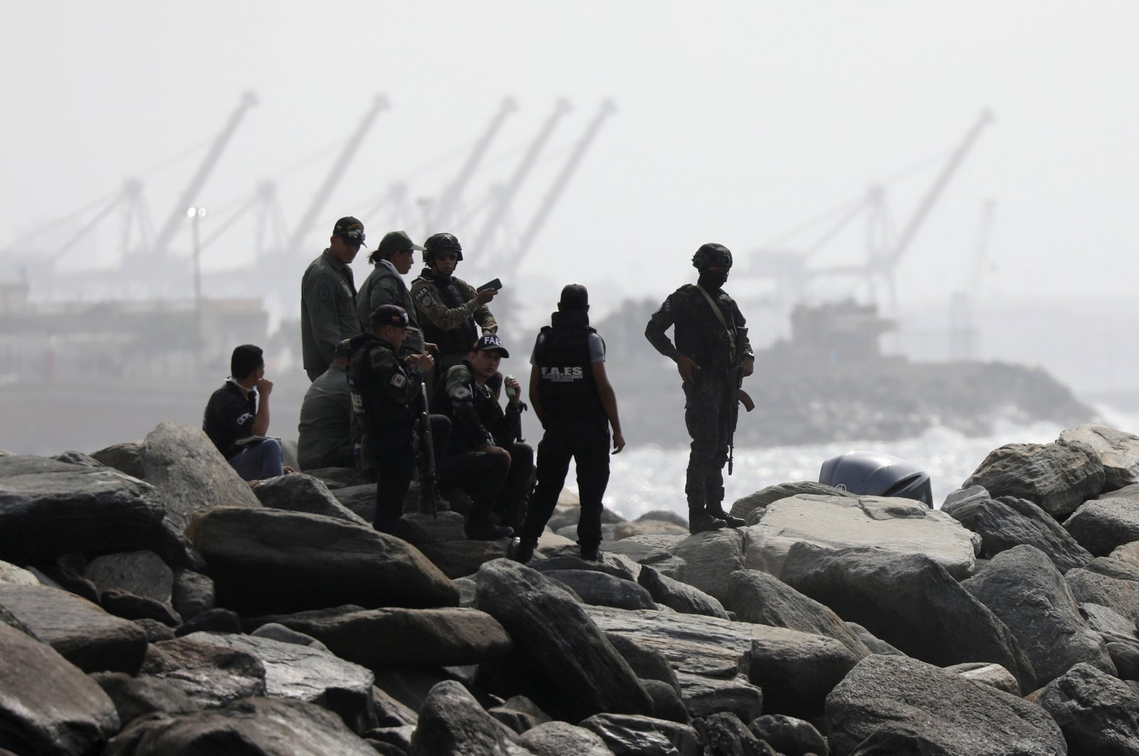"Members of a Venezuelan special forces unit seen at a shore, after the government announced a failed ""mercenary"" incursion, Macuto, May 3, 2020. (REUTERS Photo)"