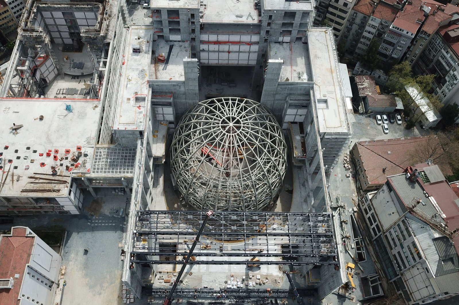 An aerial photo of the construction of the AKM auditorium. (DHA Photo)