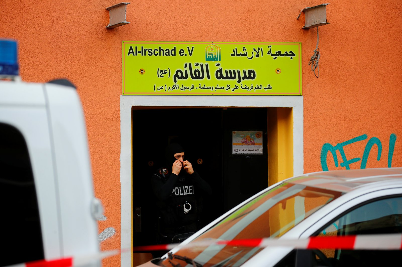 German special police leaves the El-Irschad (Al-Iraschad e.V.) after Germany has banned Iran-backed Hezbollah on its soil and designated it a terrorist organisation, Berlin, Germany, April 30, 2020. (Reuters Photo)