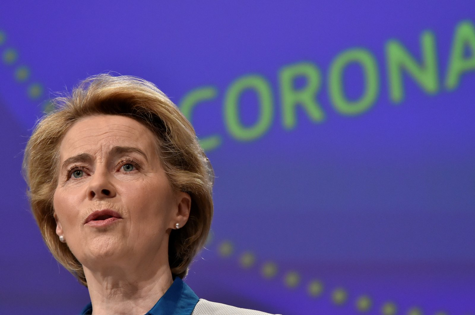 The president of European Commission, Ursula von der Leyen, holds a news conference on the European Union response to the COVID-19 crisis at the EU headquarters in Brussels, April 15, 2020. (REUTERS Photo)