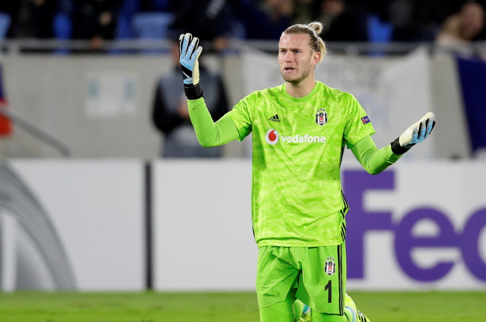 Beşiktaş golakeeper Loris Karius reacts after conceding a goal during a Europa League group stage match between Slovan Bratislava and Beşiktaş in Bratislava, Slovakia, Sept. 19, 2019. (Reuters Photo)