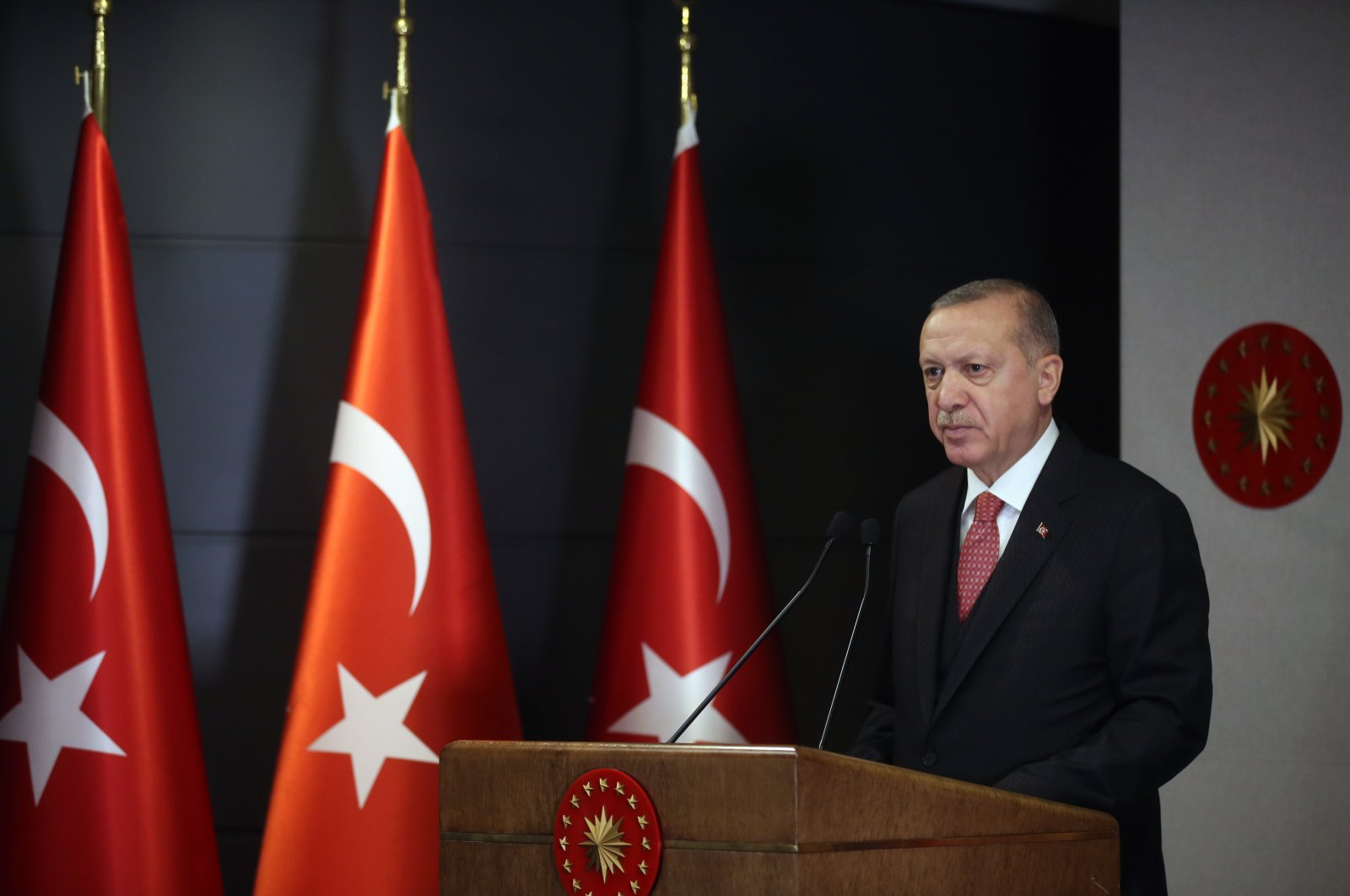 President Recep Tayyip Erdoğan speaks following a Cabinet meeting, Istanbul, May 4, 2020. (AA Photo)