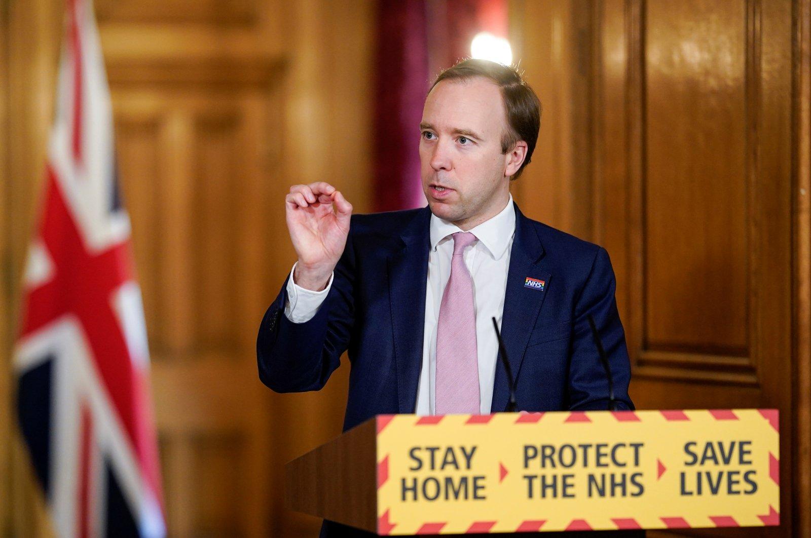 Britain's Health Secretary Matt Hancock chairs the Daily COVID-19 Digital News Conference at 10 Downing Street in London, Britain May 4, 2020. (REUTERS Photo)
