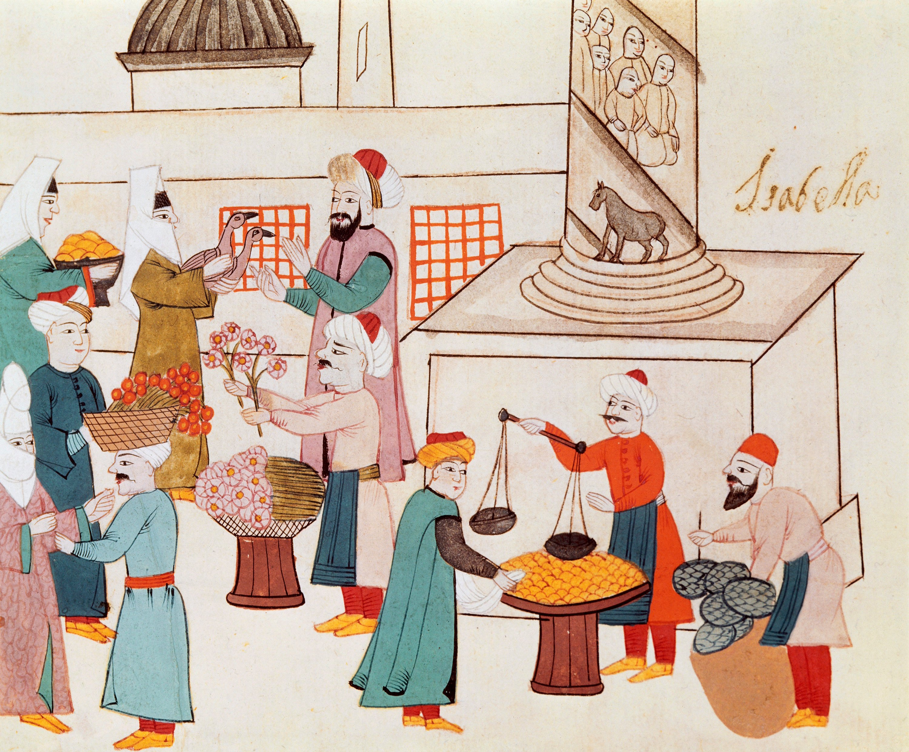 Some miniatures are focused on Ramadan highlights like this one depicting a Ramadan shopping scene in an Istanbul bazaar. (Photo by Getty Images)