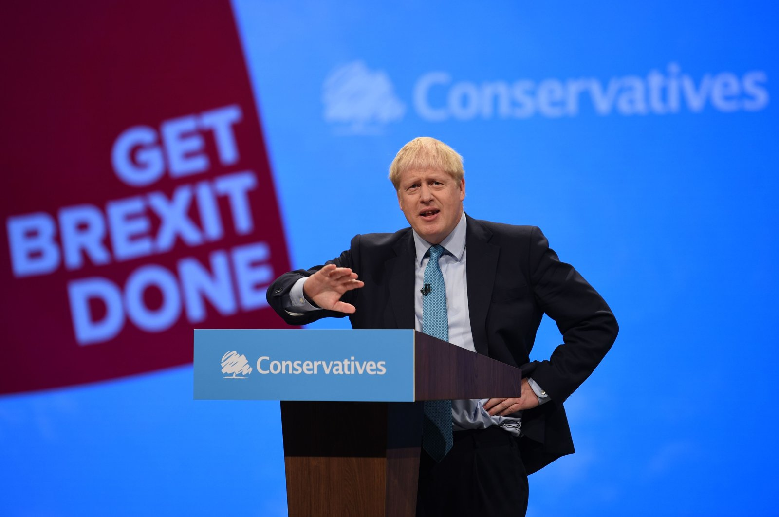 Britain's Prime Minister Boris Johnson delivers his keynote speech to delegates on the final day of the annual Conservative Party conference at the Manchester Central convention complex, Manchester, Oct. 2, 2019. (AFP Photo)