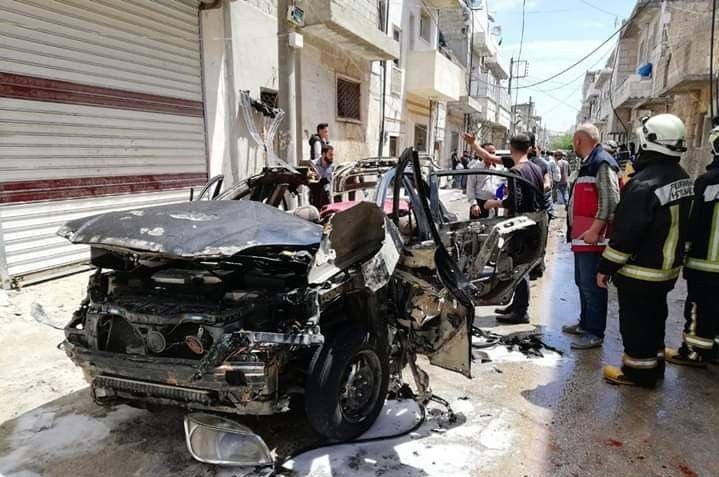 A destroyed vehicle is seen after a car bombing in Syria's al-Bab killed one civilian, May 5, 2020. (IHA Photo)