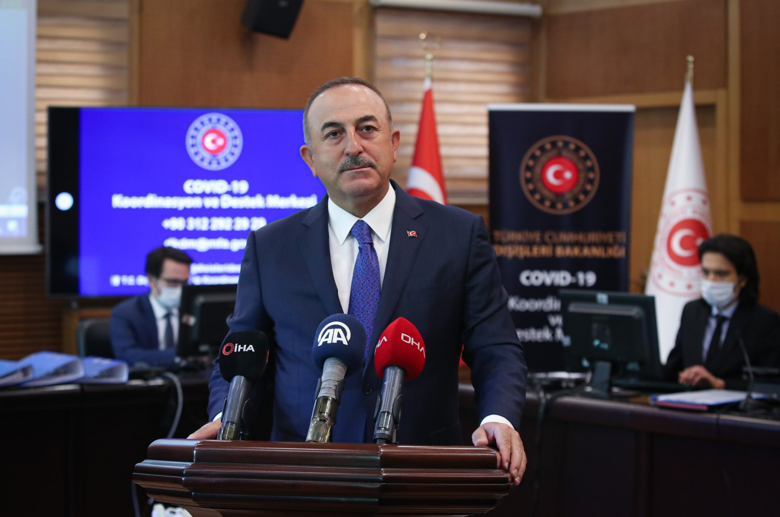 Foreign Minister Mevlüt Çavuşoğlu speaks at a news conference in Ankara, Turkey, May 5, 2020. (AA Photo)